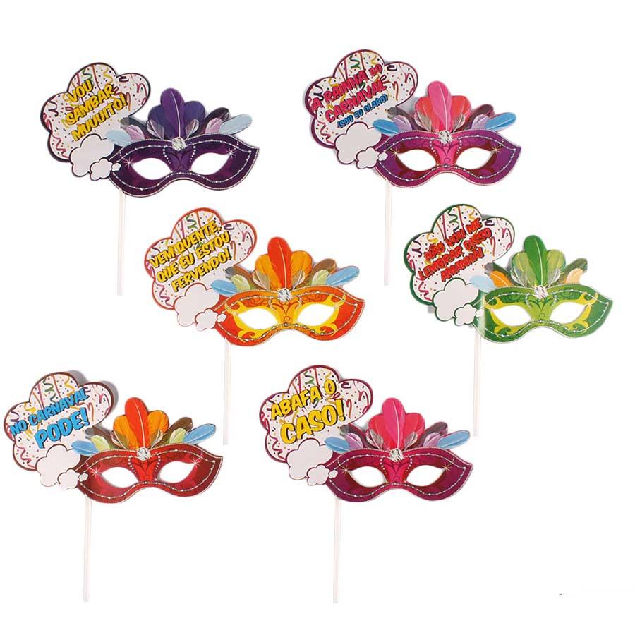 Máscara Frases de Carnaval com Vareta - 6 unidades
