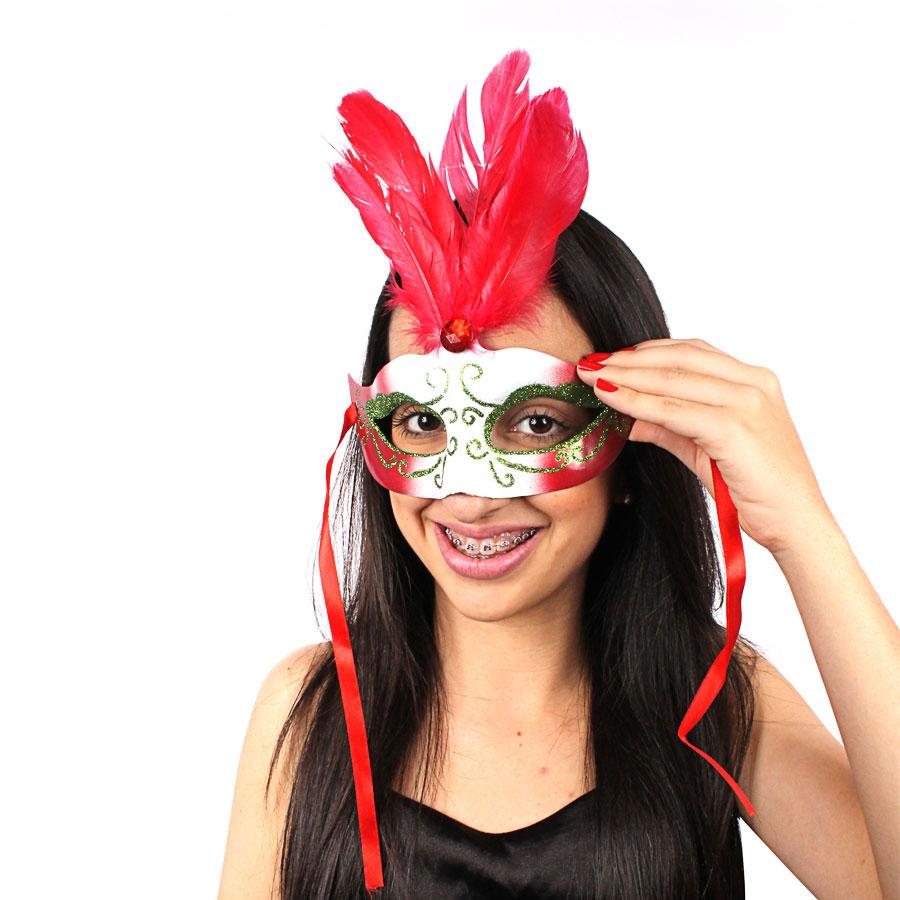 Máscara Penas Degradê Vermelha