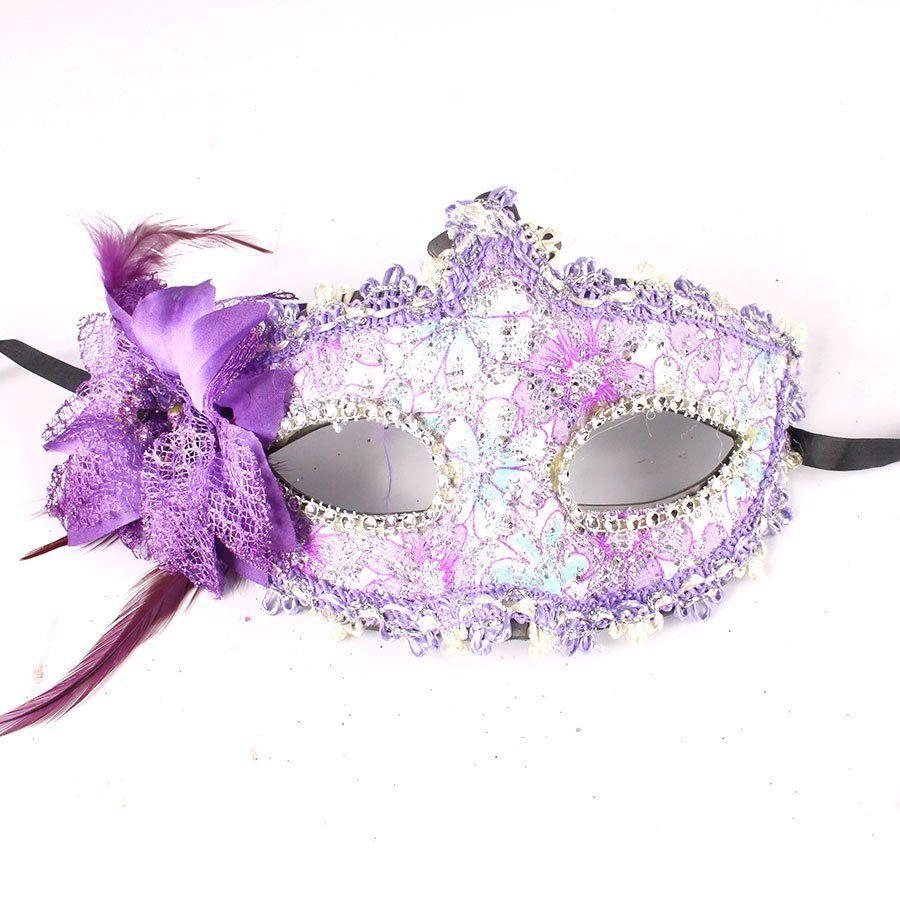 Máscara Veneziana Elegância com Flor Lateral - Cores Sortidas