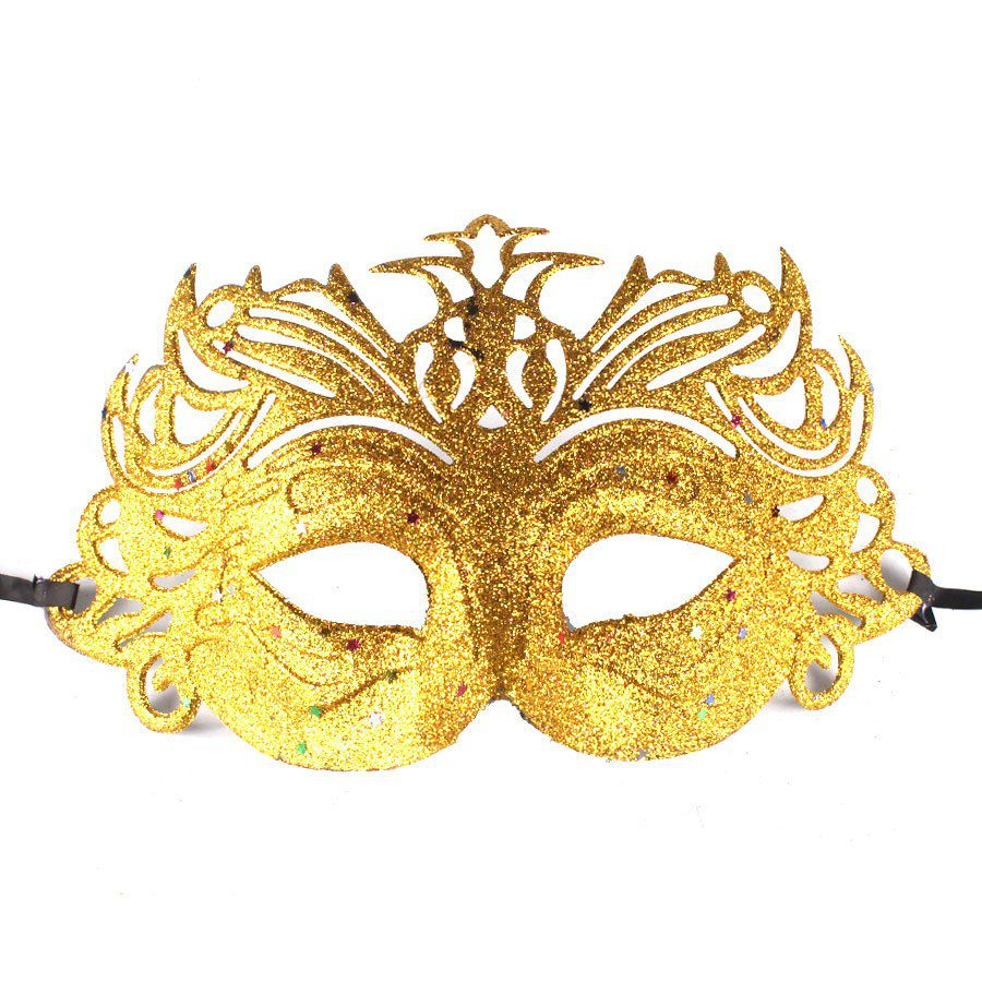 Máscara Veneziana Luxo - Dourada com Glitter