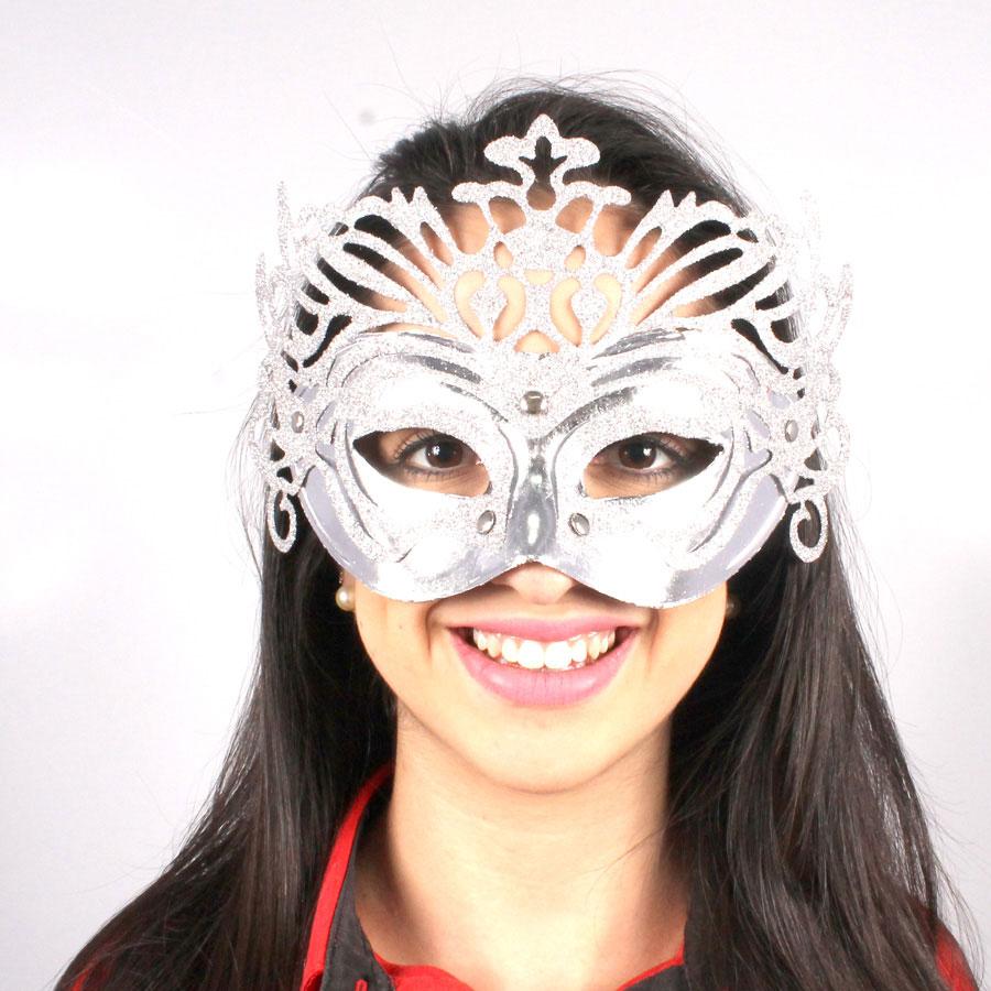 Máscara Veneziana Luxo - Prata