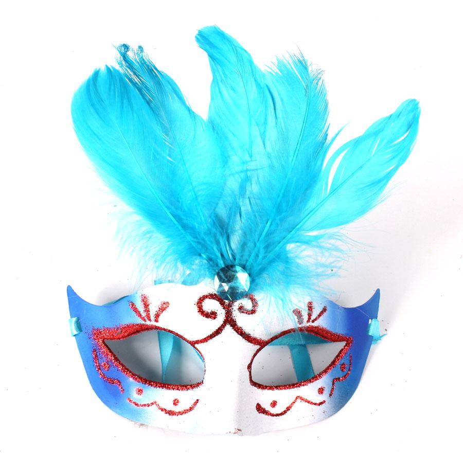 Máscara Veneziana Penas Degradê Azul