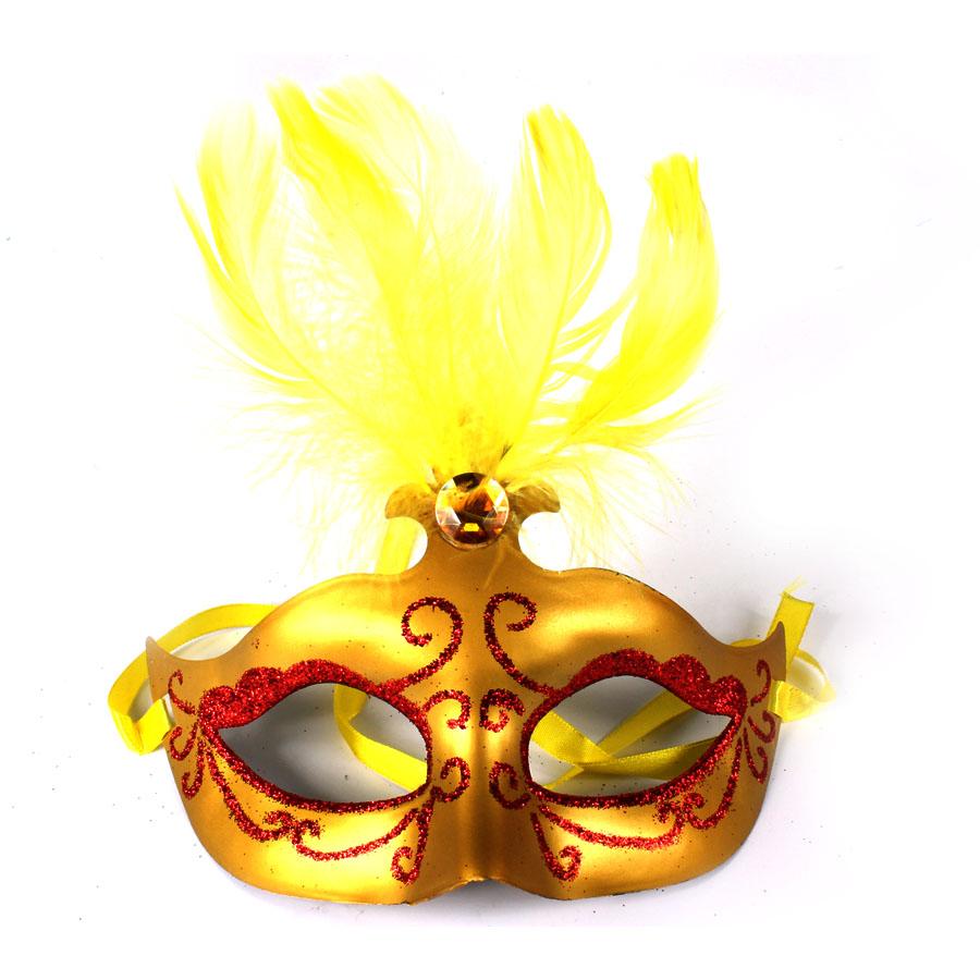 Máscara Veneziana Penas Dourada