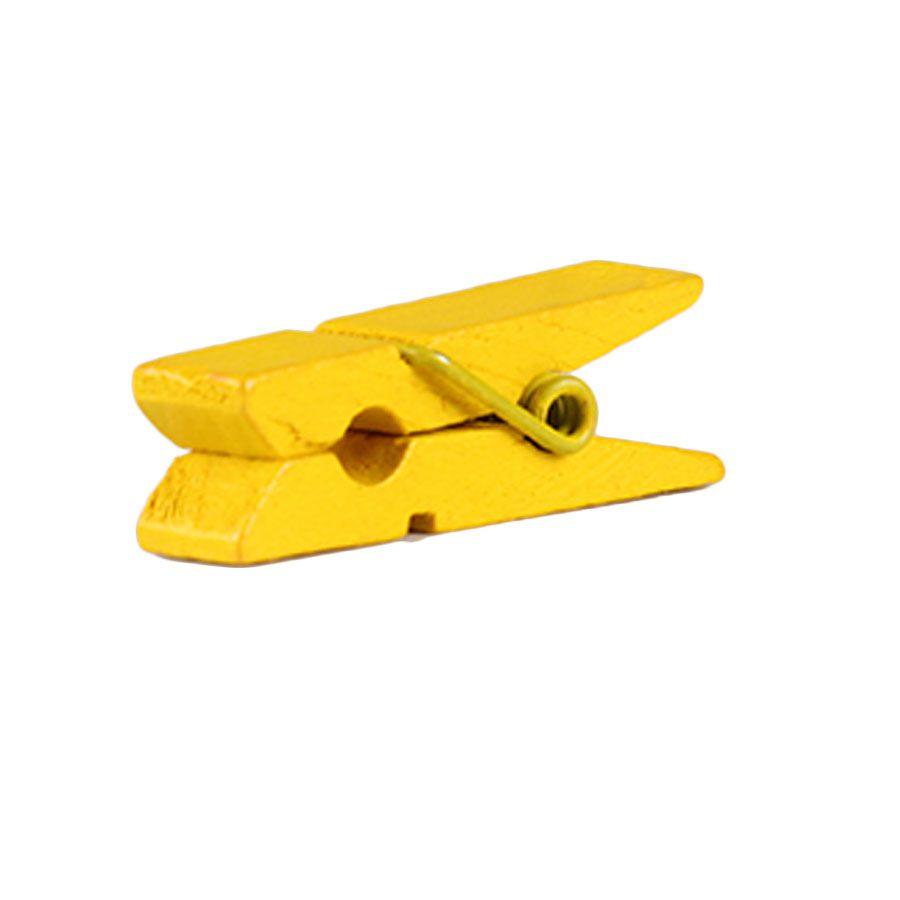Mini Prendedor de Madeira Amarelo