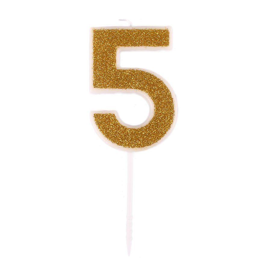 Mini Vela com Glitter Dourada nº 5
