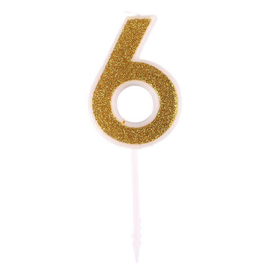 Mini Vela com Glitter Dourada nº 6