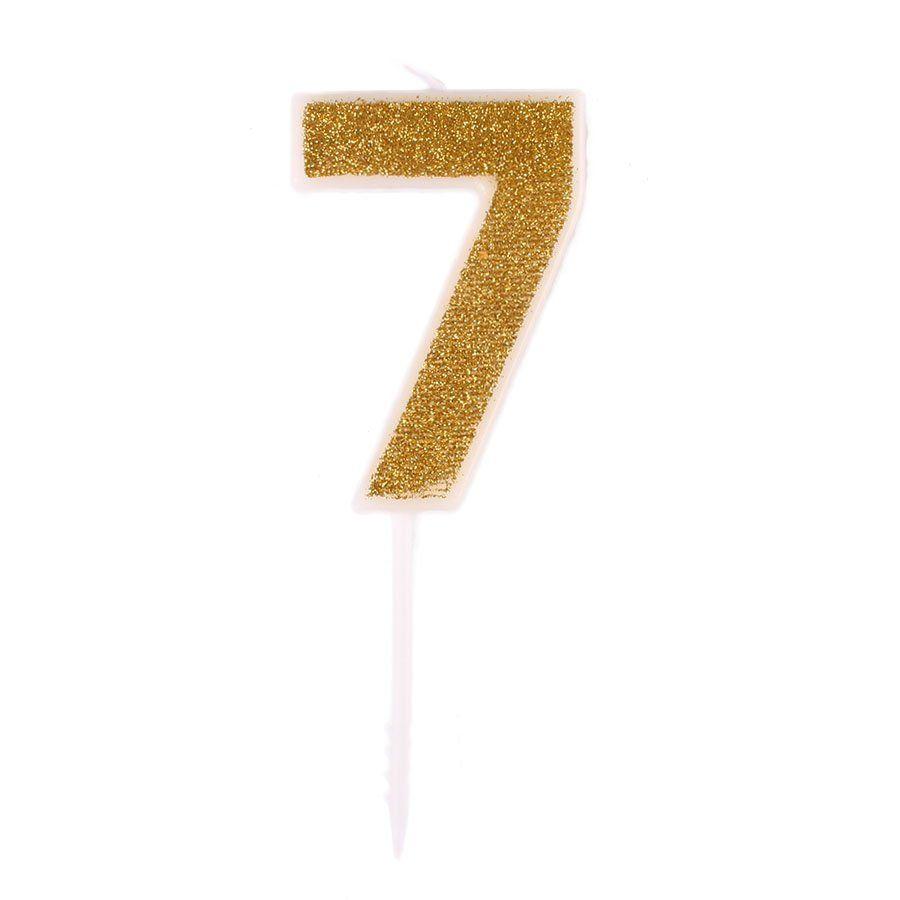 Mini Vela com Glitter Dourada nº 7