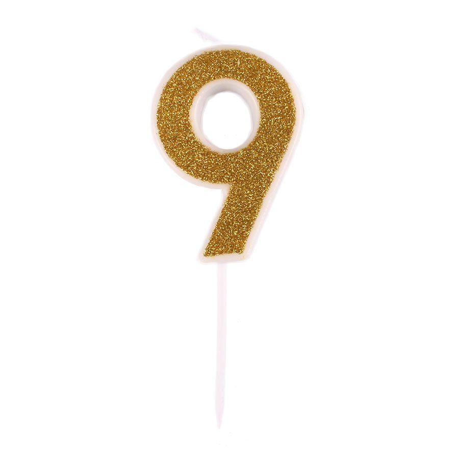 Mini Vela com Glitter Dourada nº 9