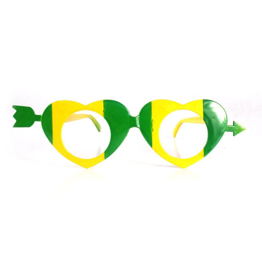 Óculos Coração Verde e Amarelo Copa 2018