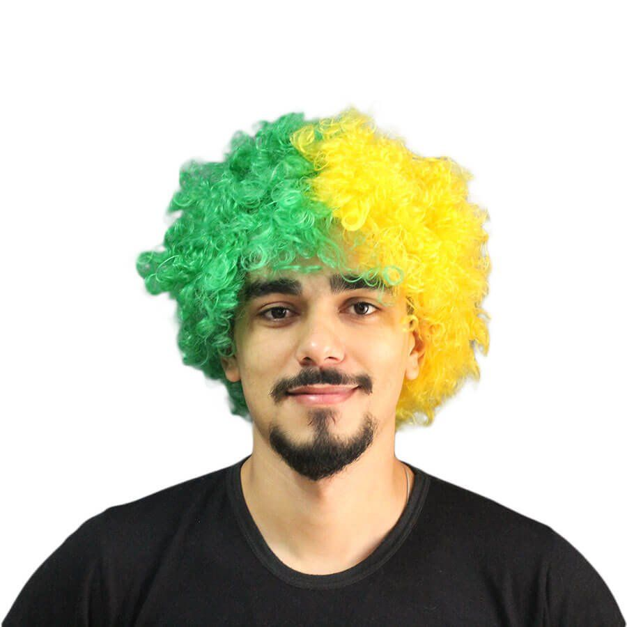Peruca Black Power Verde e Amarela Brasil
