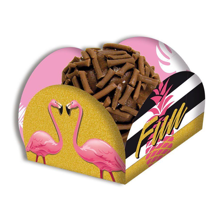 Porta Forminha para Doces Flamingo - 40 unidades