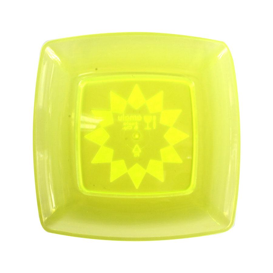 Prato Acrílico Quadrado 15Cm 10Un Amarelo Neon
