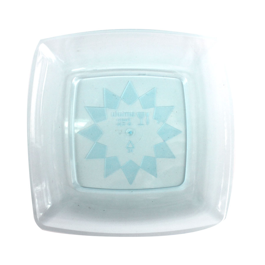 Prato Acrílico Quadrado 15Cm 10Un Azul Neon