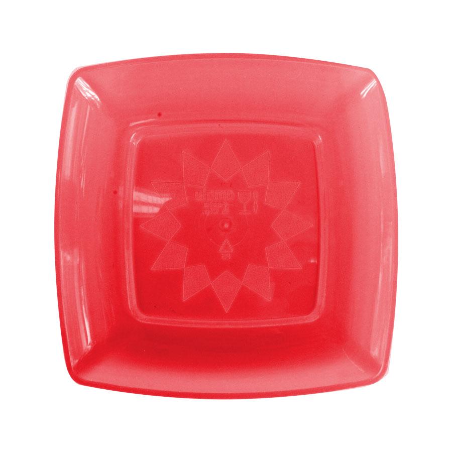 Prato Acrílico Quadrado 15Cm 10Un Vermelho Neon