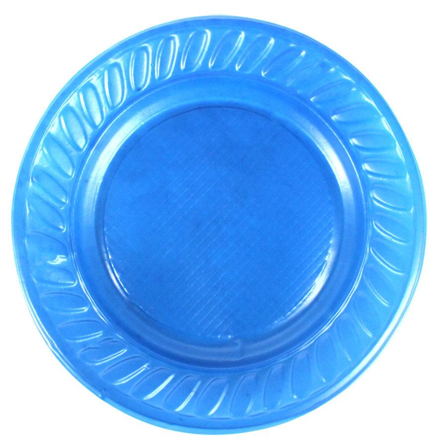 Prato de Plástico Descartável Azul Escuro 15cm - 10 Unidades