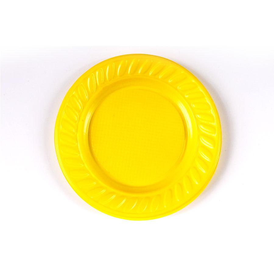Prato de Plástico Descartável Amarelo 15cm - 10 Unidades