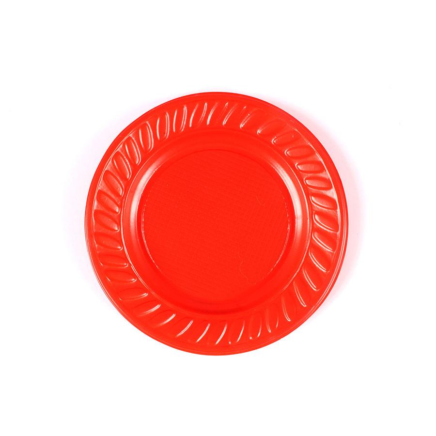 Prato de Plástico Descartável Vermelho 15cm - 10 Unidades