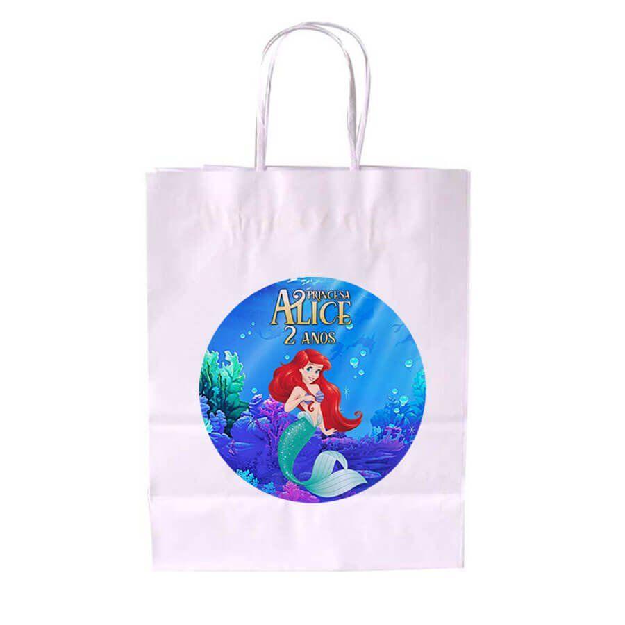 Sacola de Papel Branca Personalizada Ariel