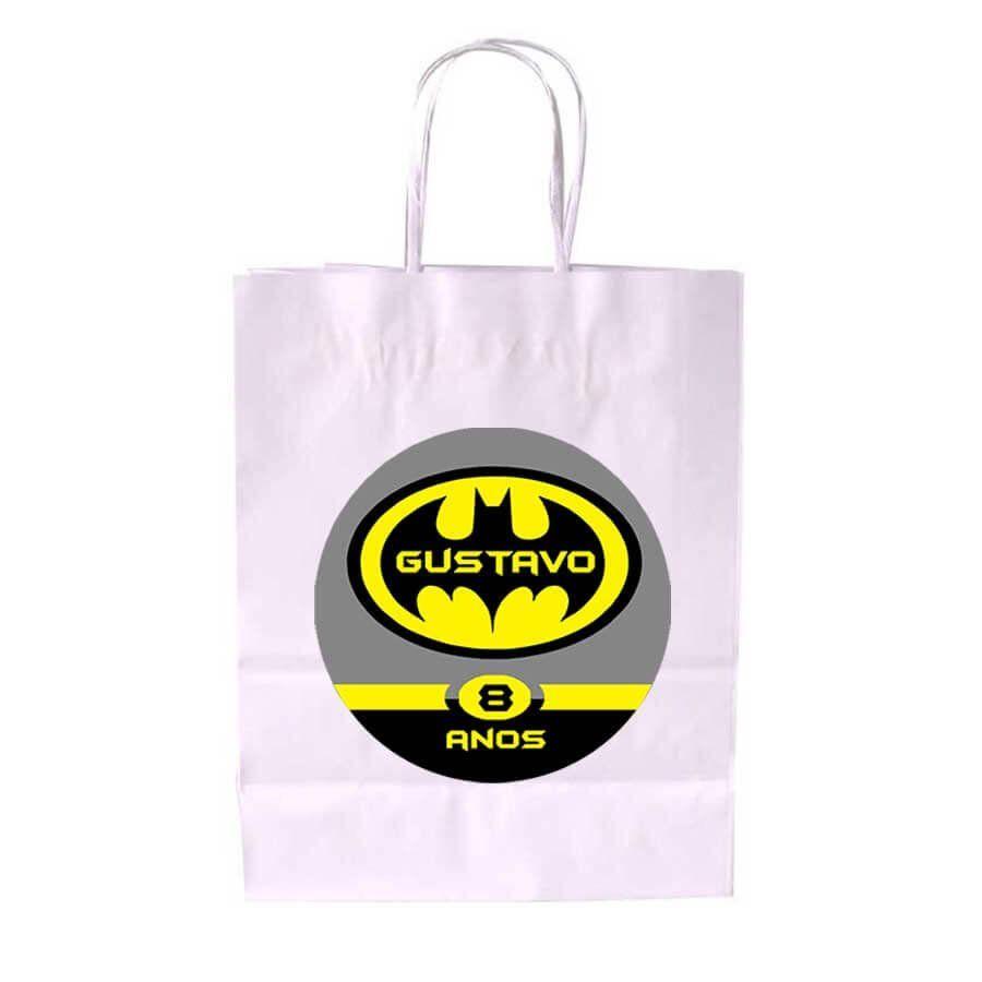 Sacola de Papel Branca Personalizada Batman