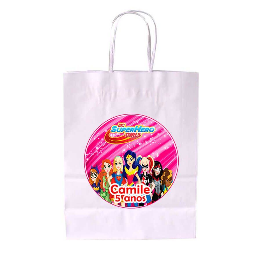 Sacola de Papel Branca Personalizada Dc Super Heroes Girls