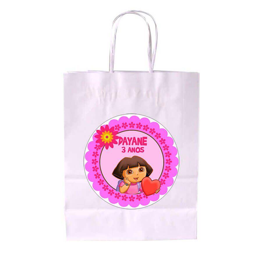 Sacola de Papel Branca Personalizada Dora Aventureira
