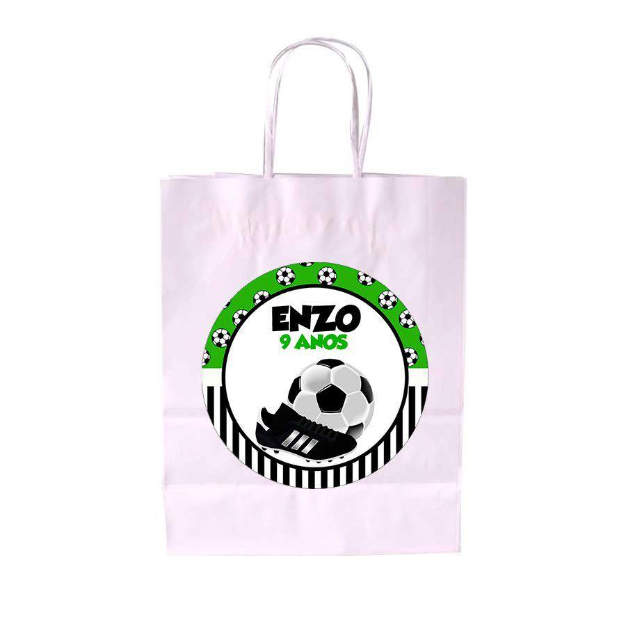 5135354fc426b Sacola de Papel Branca Personalizada Futebol - Aluá Festas