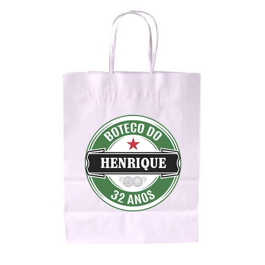 Sacola de Papel Branca Personalizada Heineken