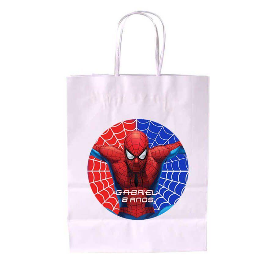 Sacola de Papel Branca Personalizada Homem Aranha