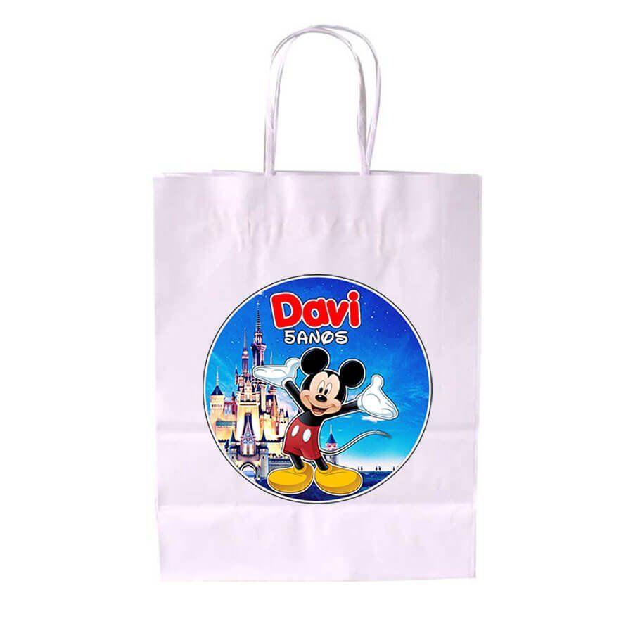 Sacola de Papel Branca Personalizada Mickey