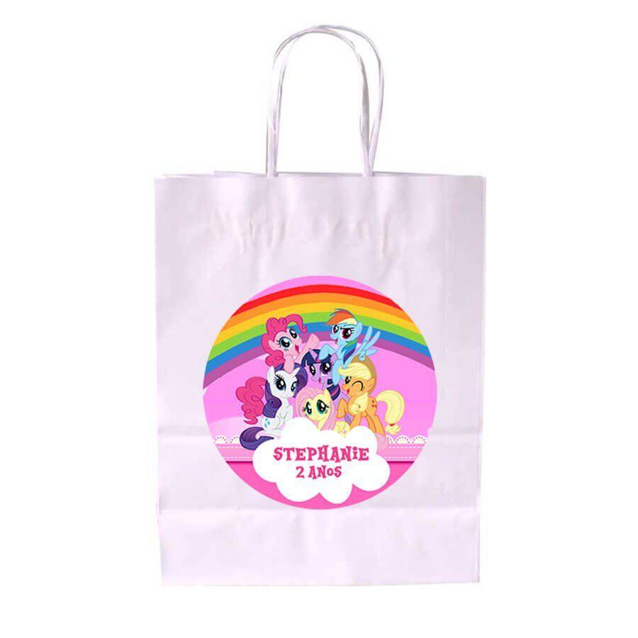 Sacola de Papel Branca Personalizada My Little Pony