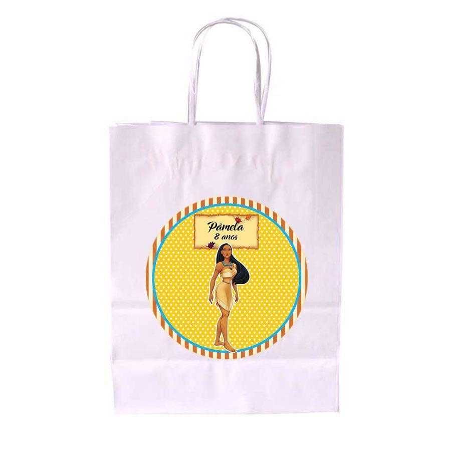 Sacola de Papel Branca Personalizada Pocahontas