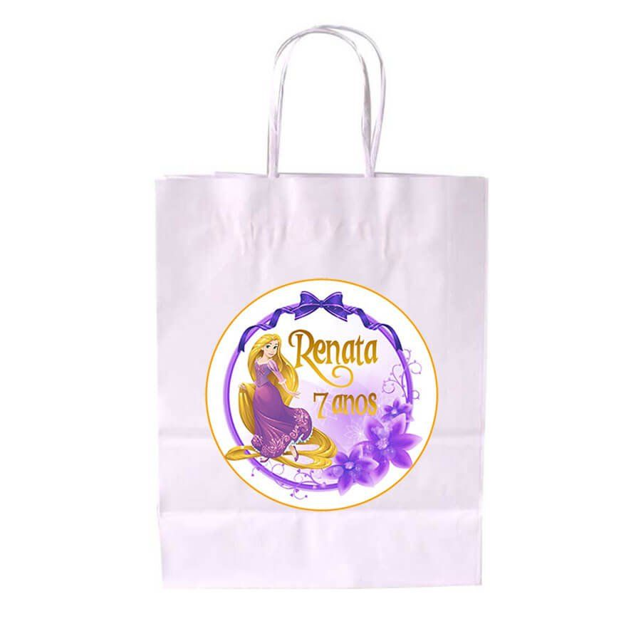 Sacola de Papel Branca Personalizada Rapunzel