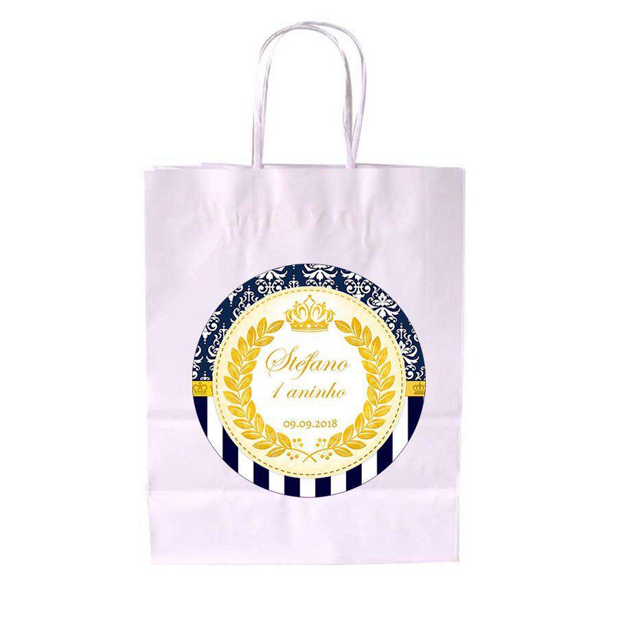 a4b31b29e Sacola de Papel Branca Personalizada Realeza Azul - Aluá Festas