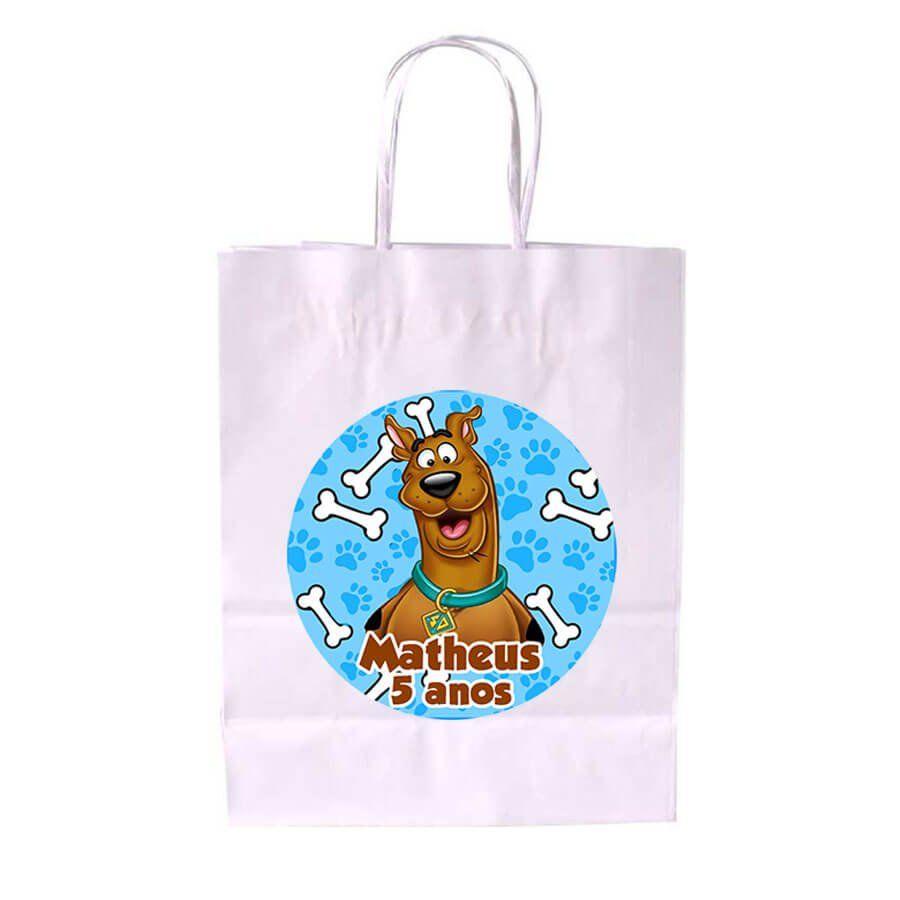 Sacola de Papel Branca Personalizada Scooby Doo