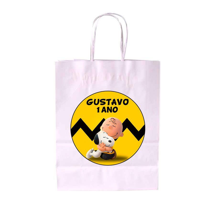 Sacola de Papel Branca Personalizada Snoopy