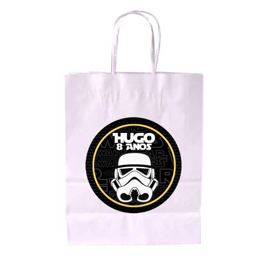 Sacola de Papel Branca Personalizada Star Wars