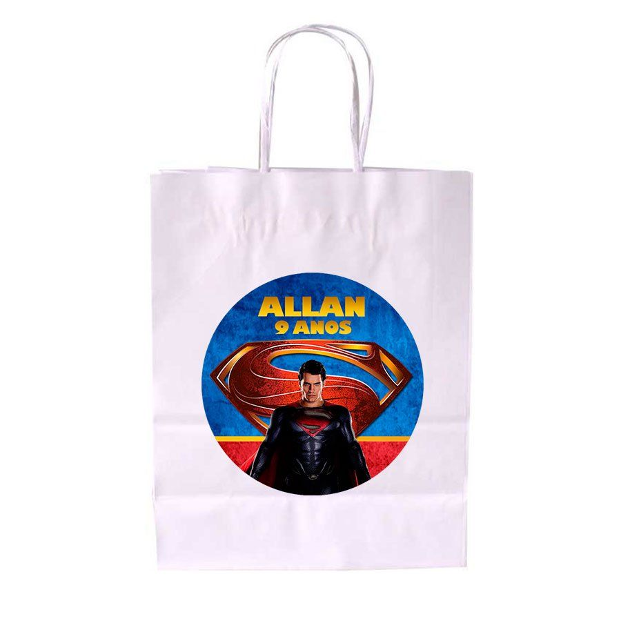 Sacola de Papel Branca Personalizada Super Man