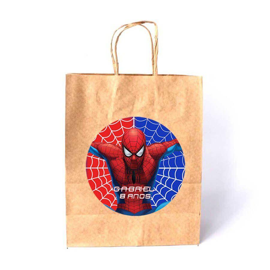 Sacola de Papel Kraft Personalizada Homem Aranha