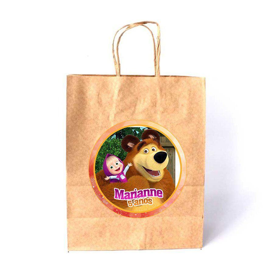 Sacola de Papel Kraft Personalizada Masha e o Urso