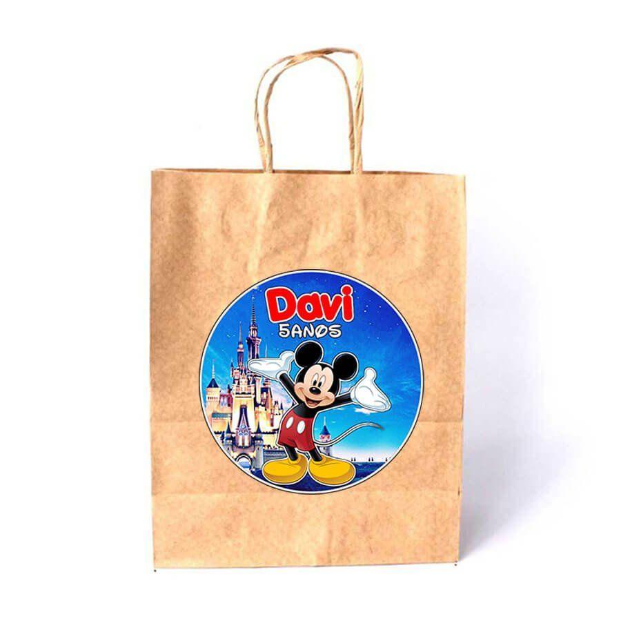 Sacola de Papel Kraft Personalizada Mickey