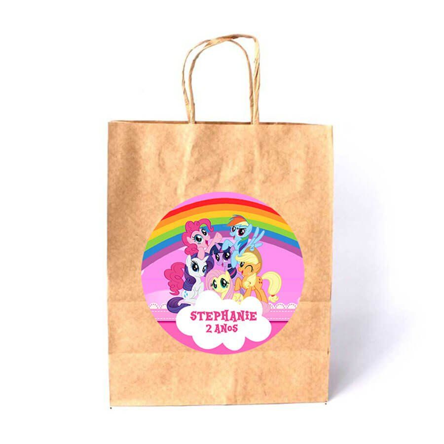 Sacola de Papel Kraft Personalizada My Little Pony