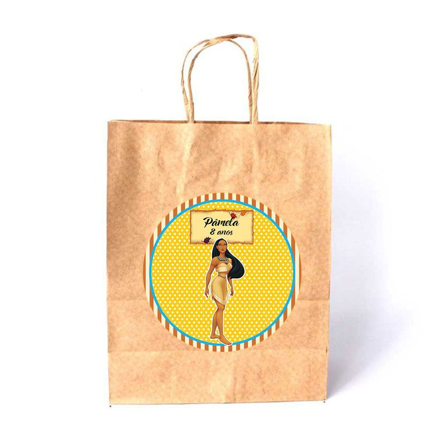 Sacola de Papel Kraft Personalizada Pocahontas