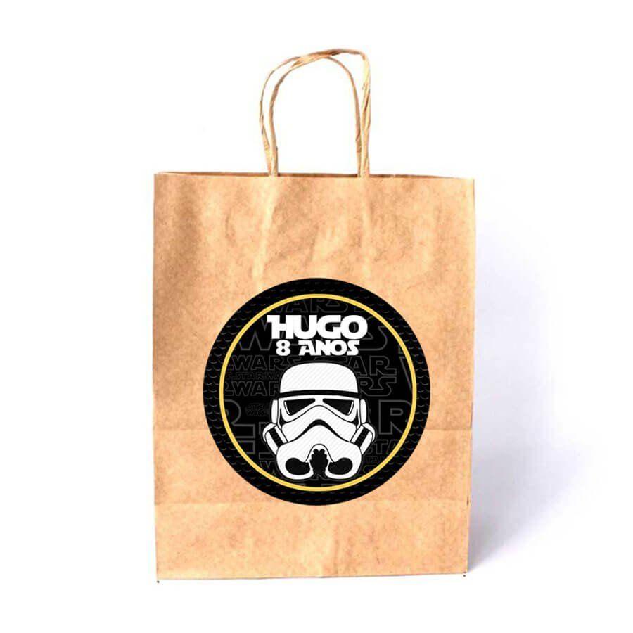 6db7f1e5e Sacola de Papel Kraft Personalizada Star Wars - Aluá Festas