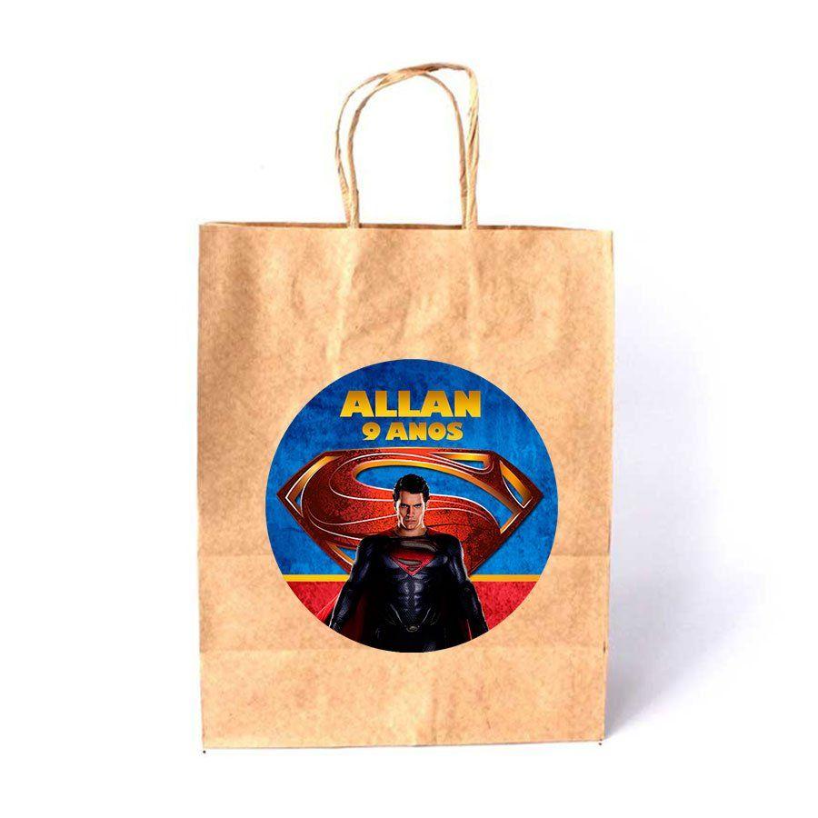 Sacola de Papel Kraft Personalizada Super Man