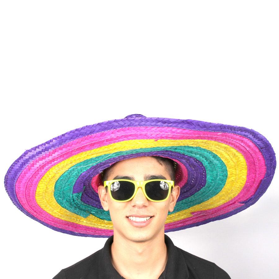 Chapéu Mexicano Sombrero de Palha Colorido