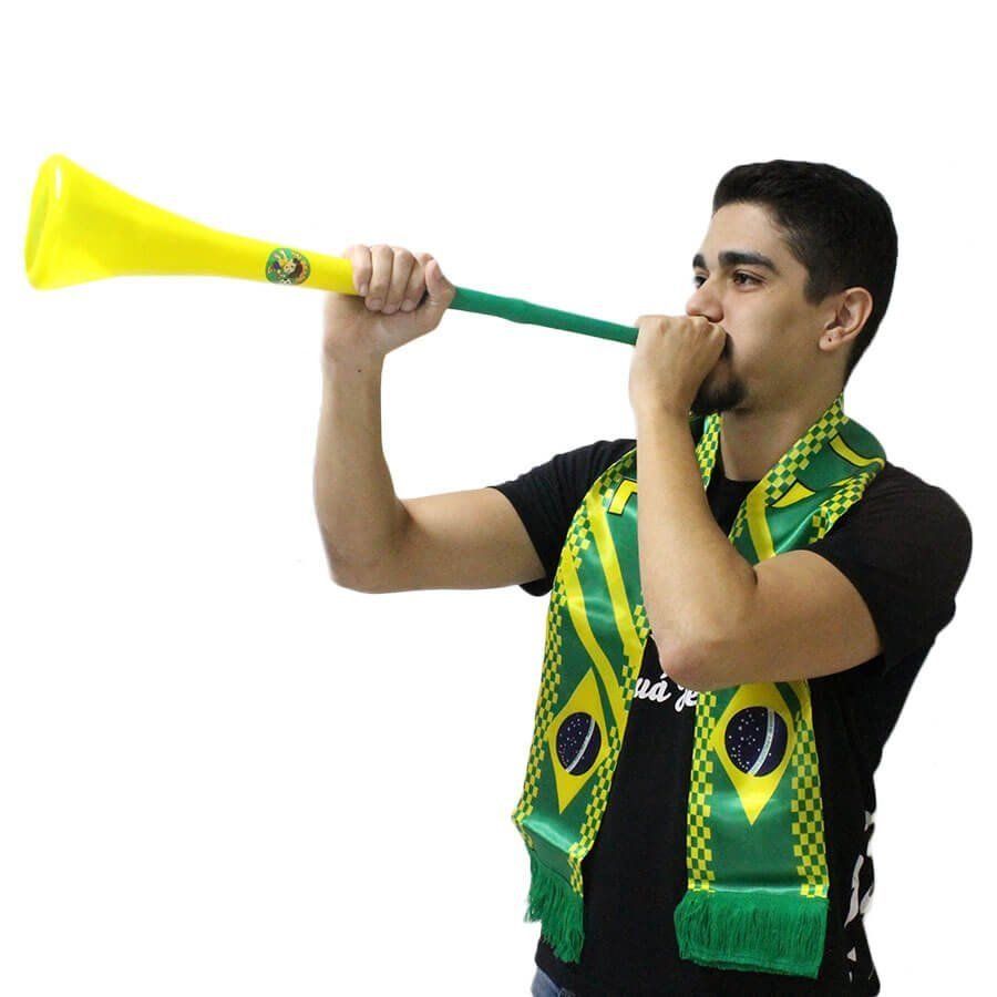 Corneta Vuvuzela Verde e Amarela Desmontável Brasil