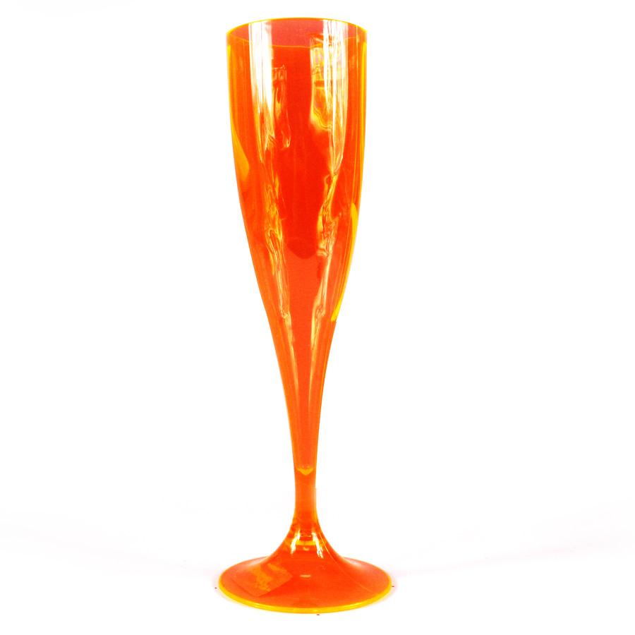 Taça Acrílica Champagne 200Ml Laranja Neon