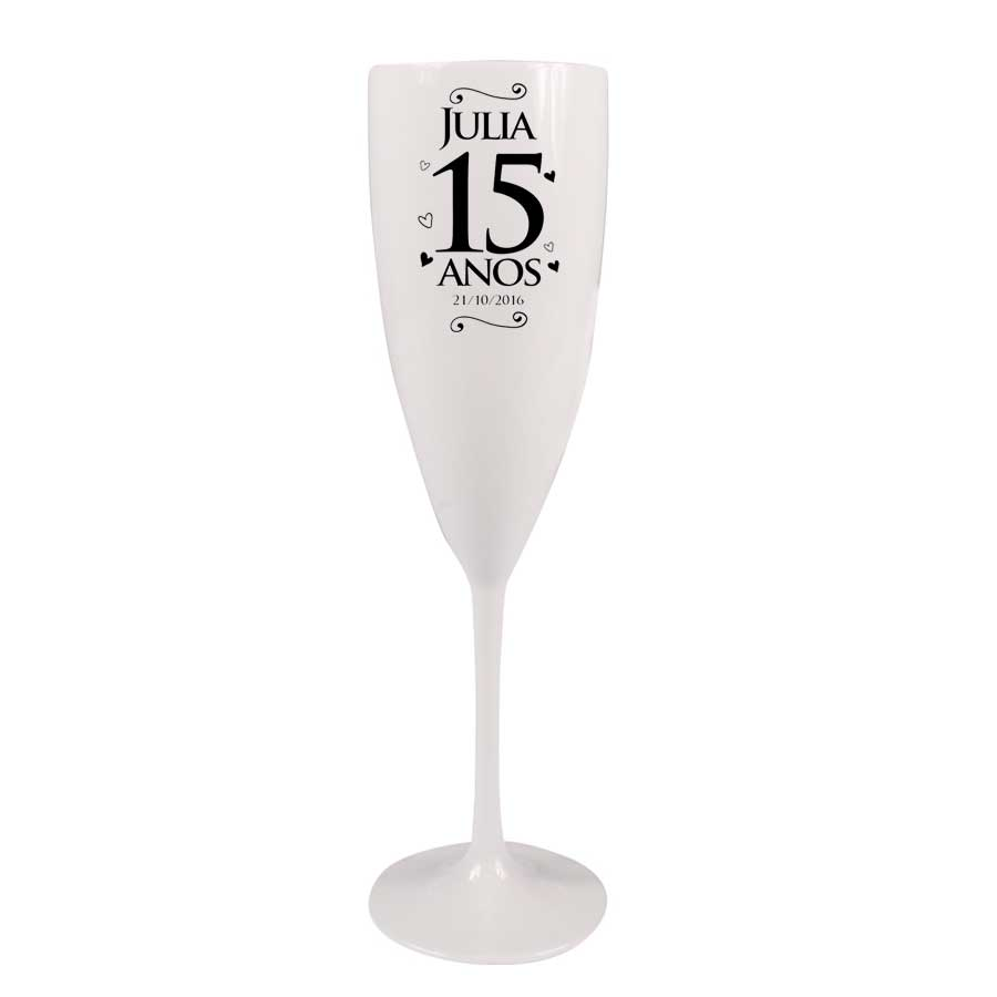 Taça Champagne Personalizada 15 Anos com Coração