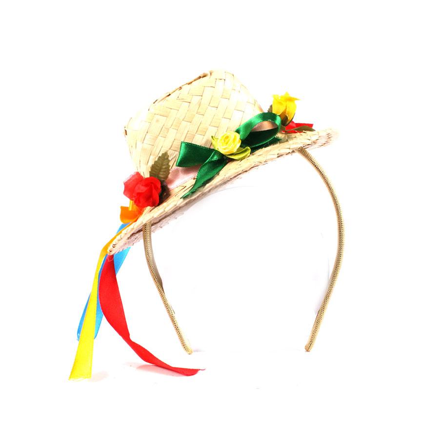 Tiara de Festa Junina Mini Chapéu de Palha