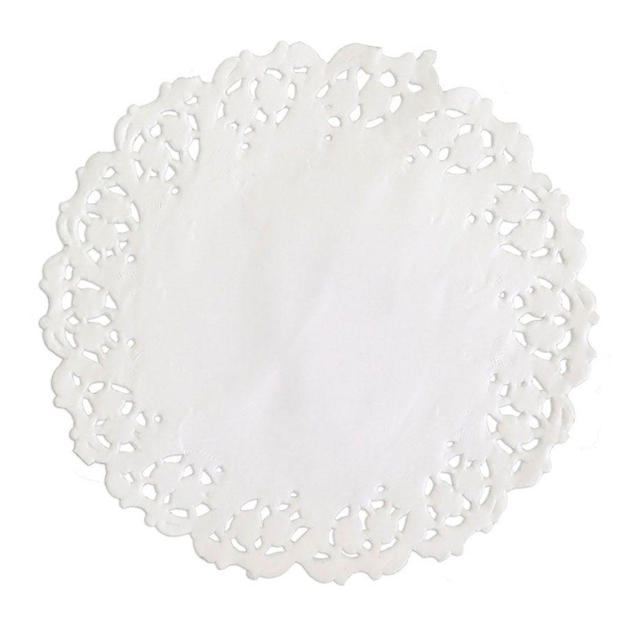 Toalha de Papel Rendada 9cm Branca - 24 unidades
